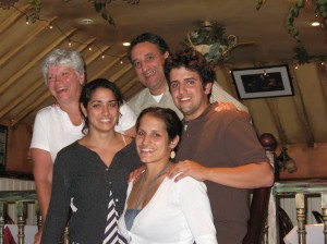 The Noucas family celebrates at the dinner with host families